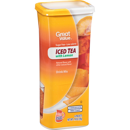 Great Value: Iced Tea With Lemon Drink Mix, 1.4 oz