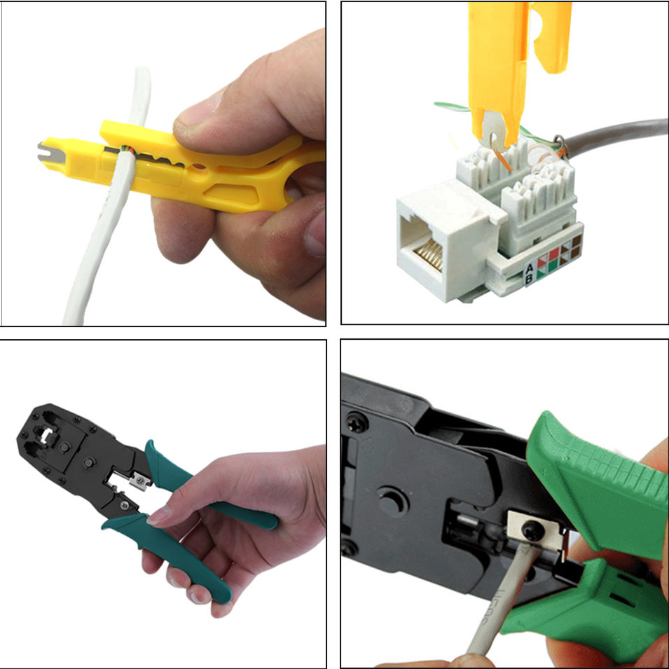 Network Ethernet LAN Kit RJ45 For Cat5e For Cat6 Cable Tester Tool Set