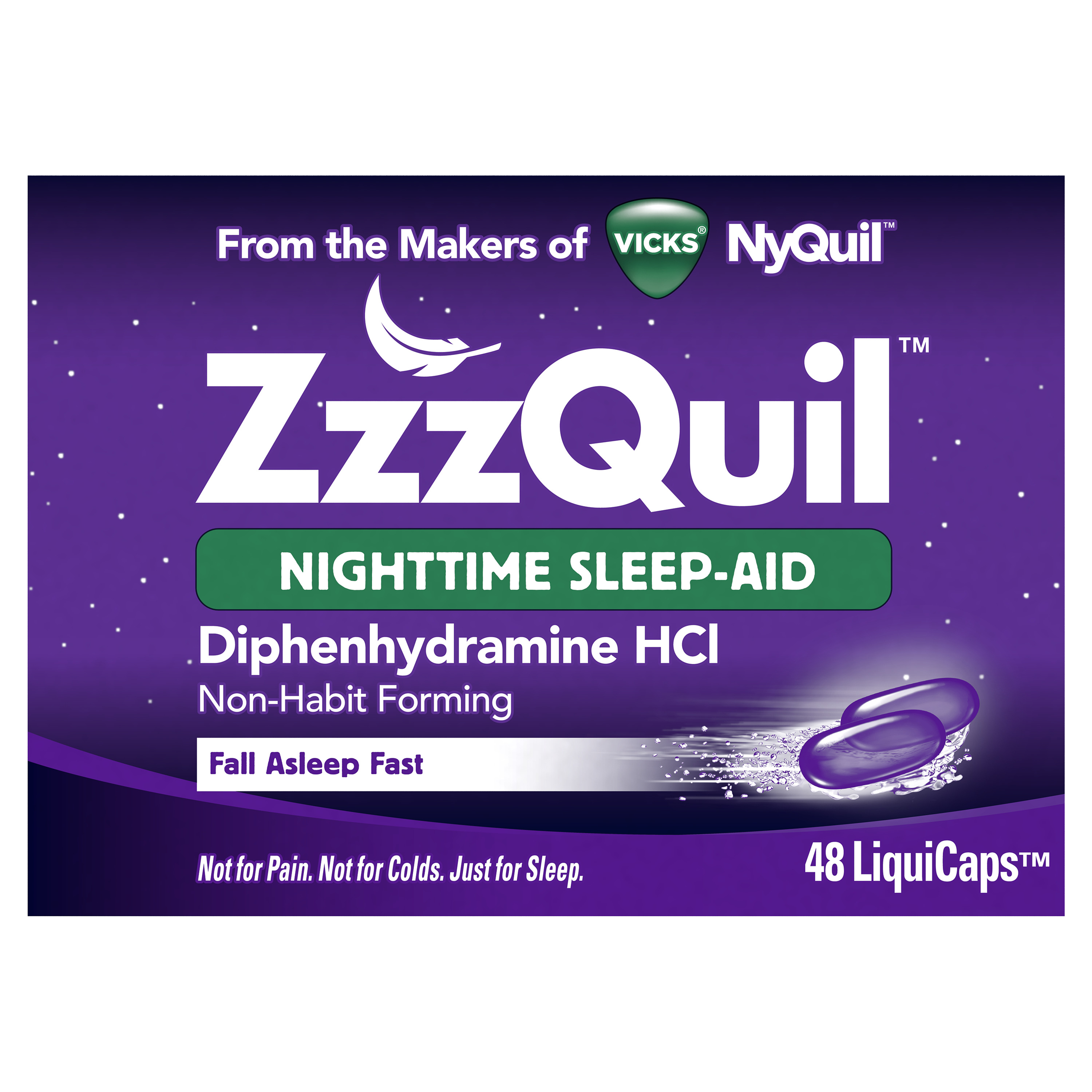 ZzzQuil Nighttime Sleep Aid LiquiCaps, 48 count