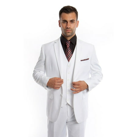 Men's Three Piece Vested Modern Fit Two Button Suit