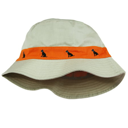 Little Me Safari Twill Bucket Toddler Boys Sun Hat Khaki Beige Orange Dog 2T-4T Safari Team Hat