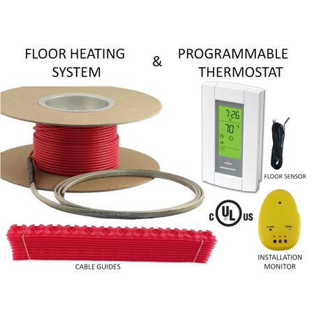 65 Sqft Warming Systems 120 V Electric Tile Radiant Floor Heating Cable with GFCI Protected Programmable Thermostat