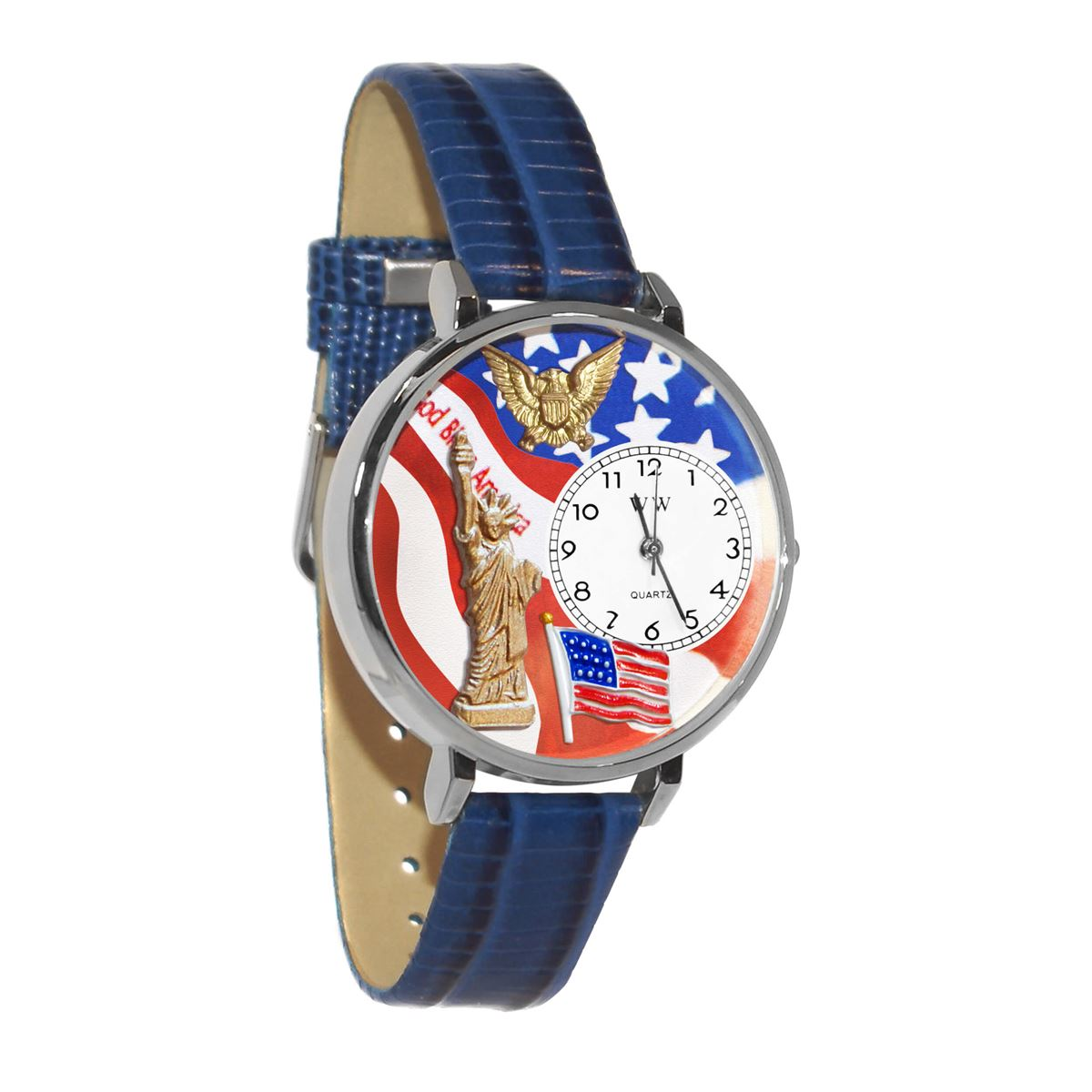 July 4th Patriotic Watch in Silver (Large)