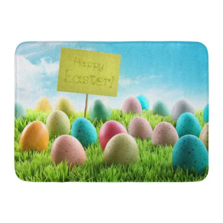 GODPOK Pink Green Happy Colorful Easter Eggs with Sign in Grass Field with Blue Sky Orange Chocolate Purple Rug Doormat Bath Mat 23.6x15.7 (Sky Personalized Chocolate)