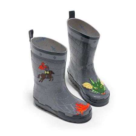 Kidorable Boys Grey Dragon Knight Print Lined Rubber Rain Boots 11-2 Kids ()