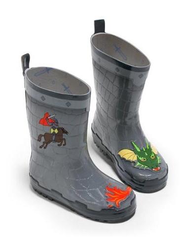 Kidorable Boys Grey Dragon Knight Print Lined Rubber Rain Boots 11-2 Kids