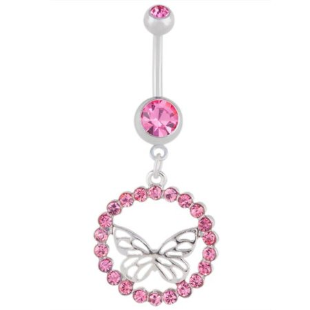 Cz Butterfly Halo Dangle Belly Button Navel Rings