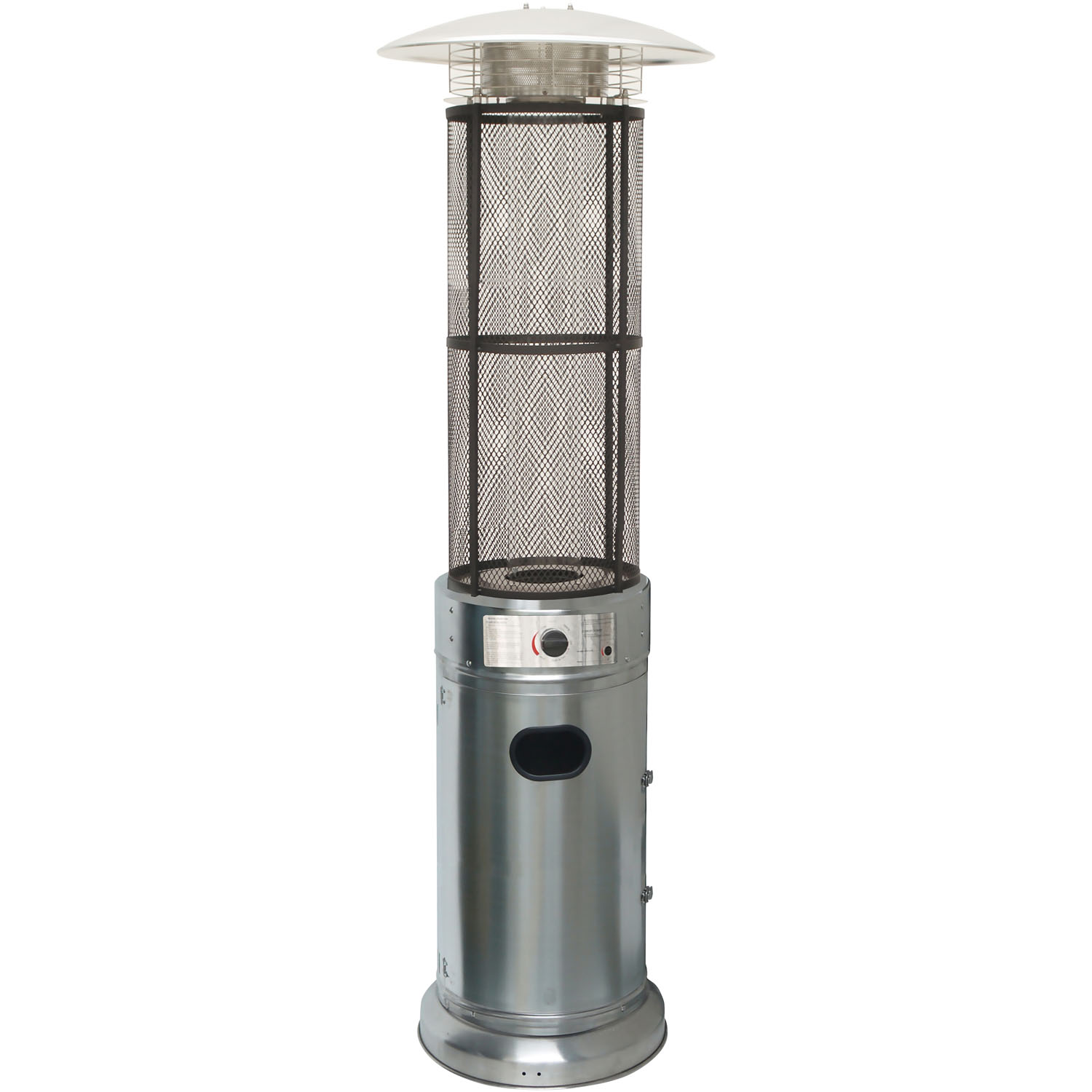 Hanover 6-Ft. 34,000 BTU Cylinder Patio Heater with Glass Flame Display in Stainless