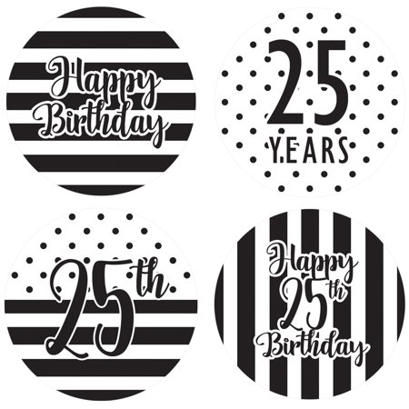 25th Birthday Party Favor Labels, 60ct - Black and White Stripe and Polka Dot Birthday Party Supplies - 60 Count Happy Birthday Stickers (1 3/4 inch)