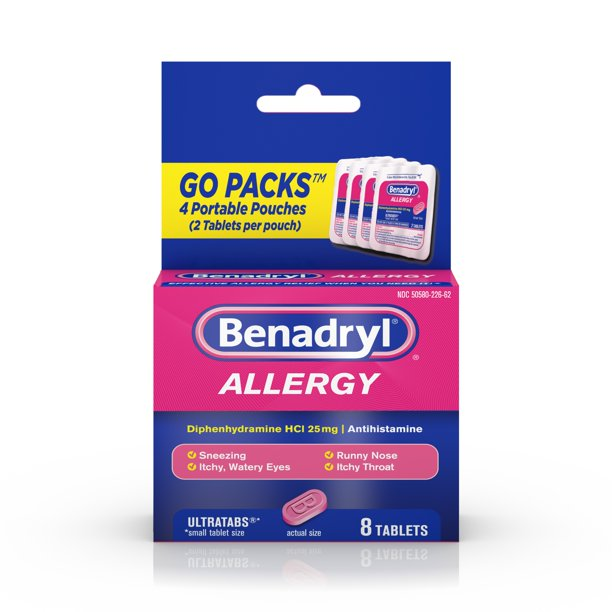 Benadryl Ultratabs Go Packs, Antihistamine Tablets, 4 packs of 2-ct.