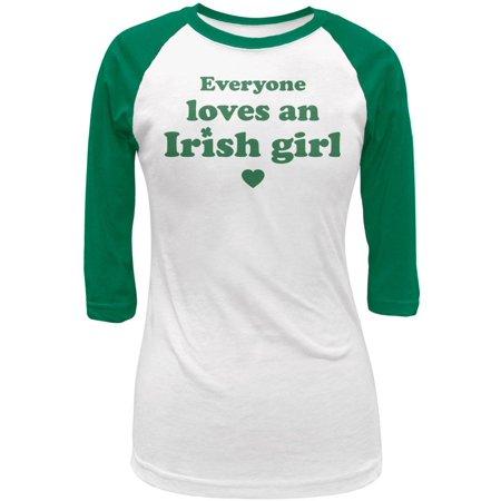 St. Patricks Day Everyone Loves an Irish Girl Juniors 3/4 Sleeve Raglan (Irish Girl Jr Raglan)