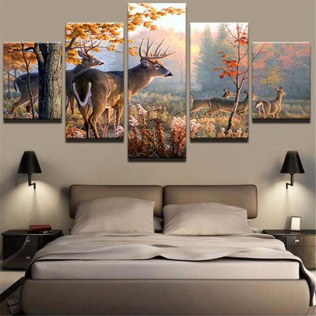 5 Pcs S L Frameless Canvas Prints Pictures Deer Forest Paintings