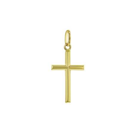 14k Yellow Gold Classic Baptism Small Stick Cross for Kids