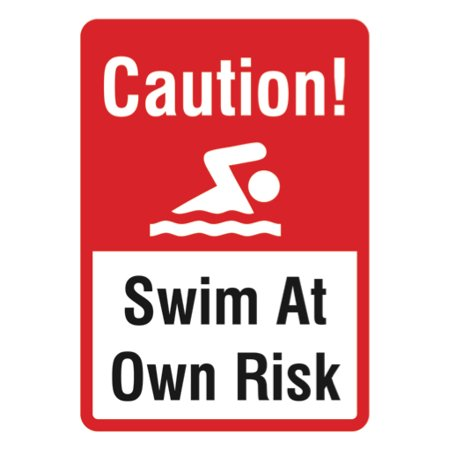 Swim at Own Risk Sign - Swimming Pool Warning Water Signs, 12x18