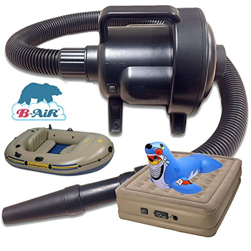 B-Air BF-1 Black Inflatable Air Pump Great 1 4 HP 115 Volt Inflatable Raft Pump Car Air Mattress Pump Compact... by B-Air