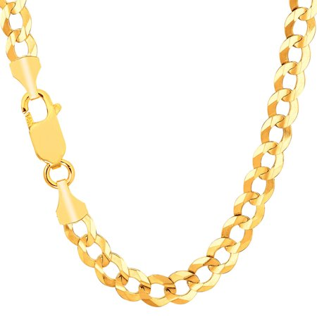 43a888cd10f42 Men's 10K Yellow Gold 7mm Solid Cuban Link Comfort Curb Chain Necklace 22