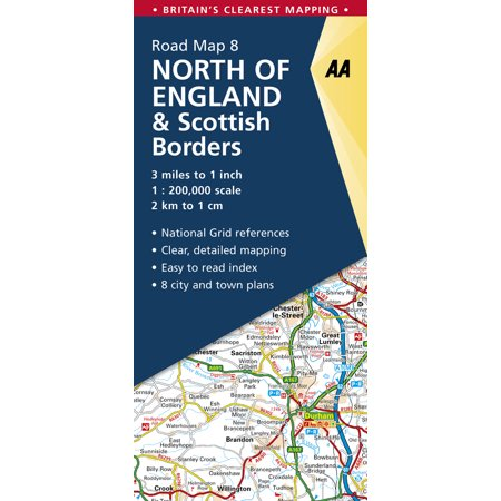 North of England & Scottish Borders Road Map (Aa Road Map)