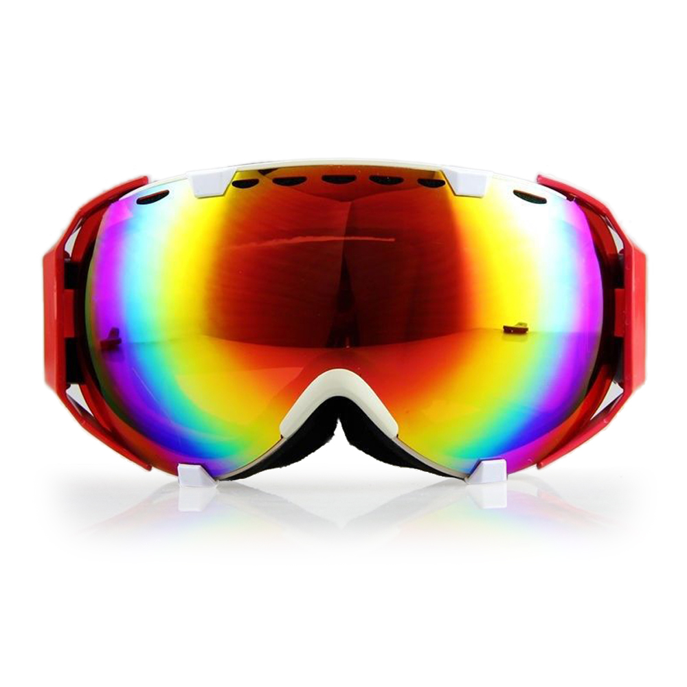 Ediors Windproof Snowmobile Ski Snow Goggles Eyewear Anti Fog Double Lens All Mountain   UV Protection (105-1, Revo Red) by Ediors