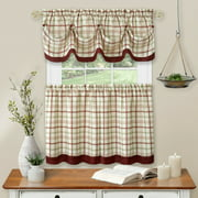 Country Farmhouse Plaid 3 Pc Tattersall Cafe Kitchen Curtain Tier & Valance Set - Burgundy, 24 in. Long