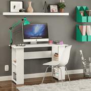 Boahaus Multipurpose Computer Desk, 2 Bookcases, Modern White Finish