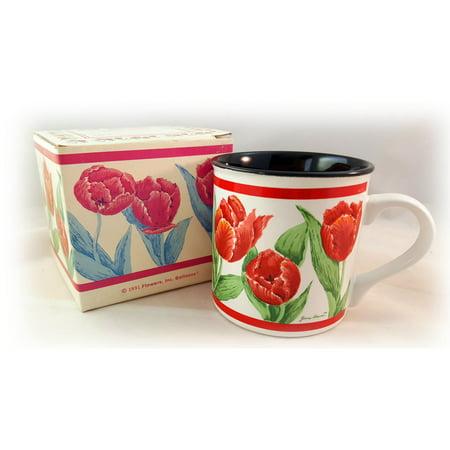 1991 Flowers, Inc. Balloons Stoneware Roses Mug 10 oz. No. 667600