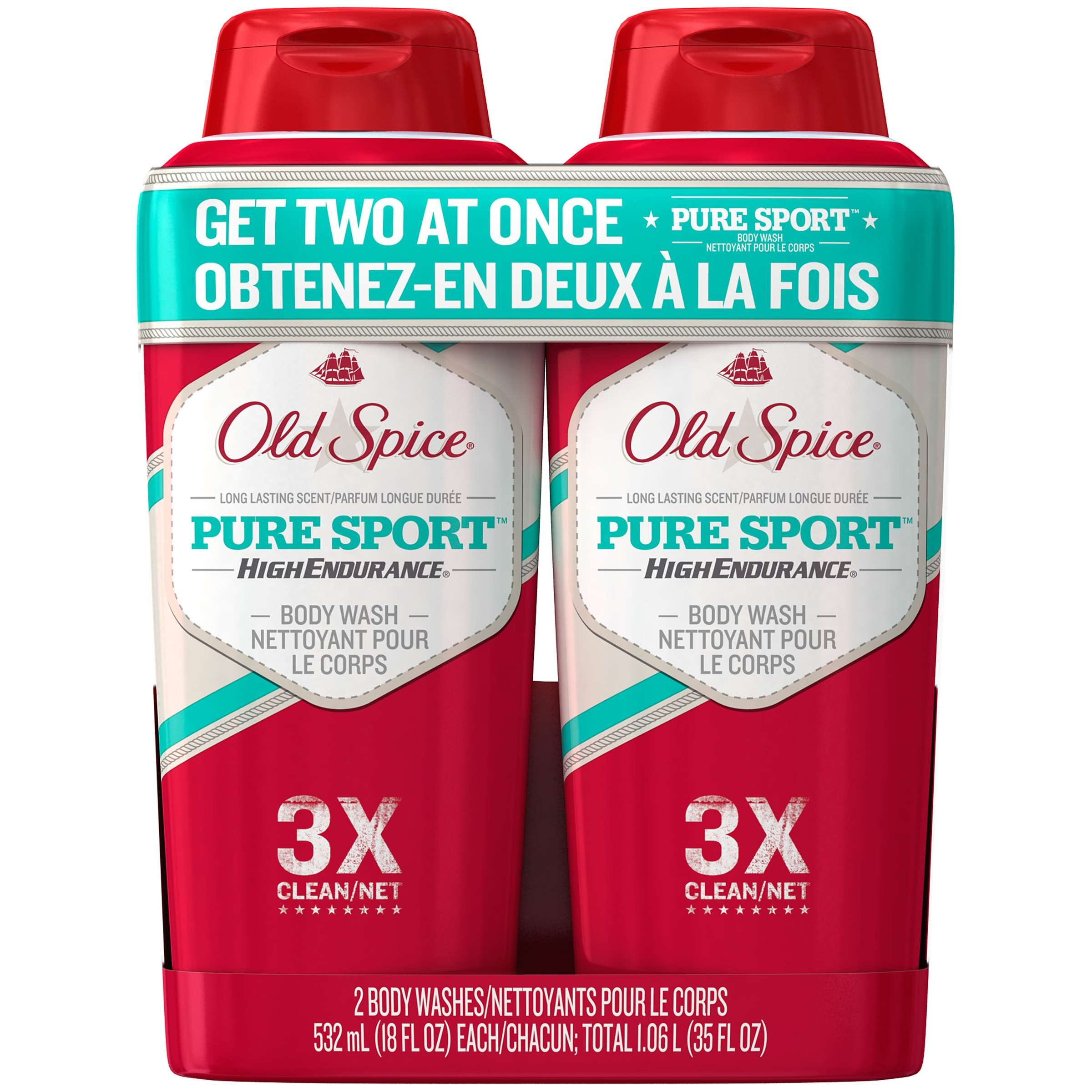 Old Spice High Endurance Pure Sport Body Wash 18 oz Twin Pack