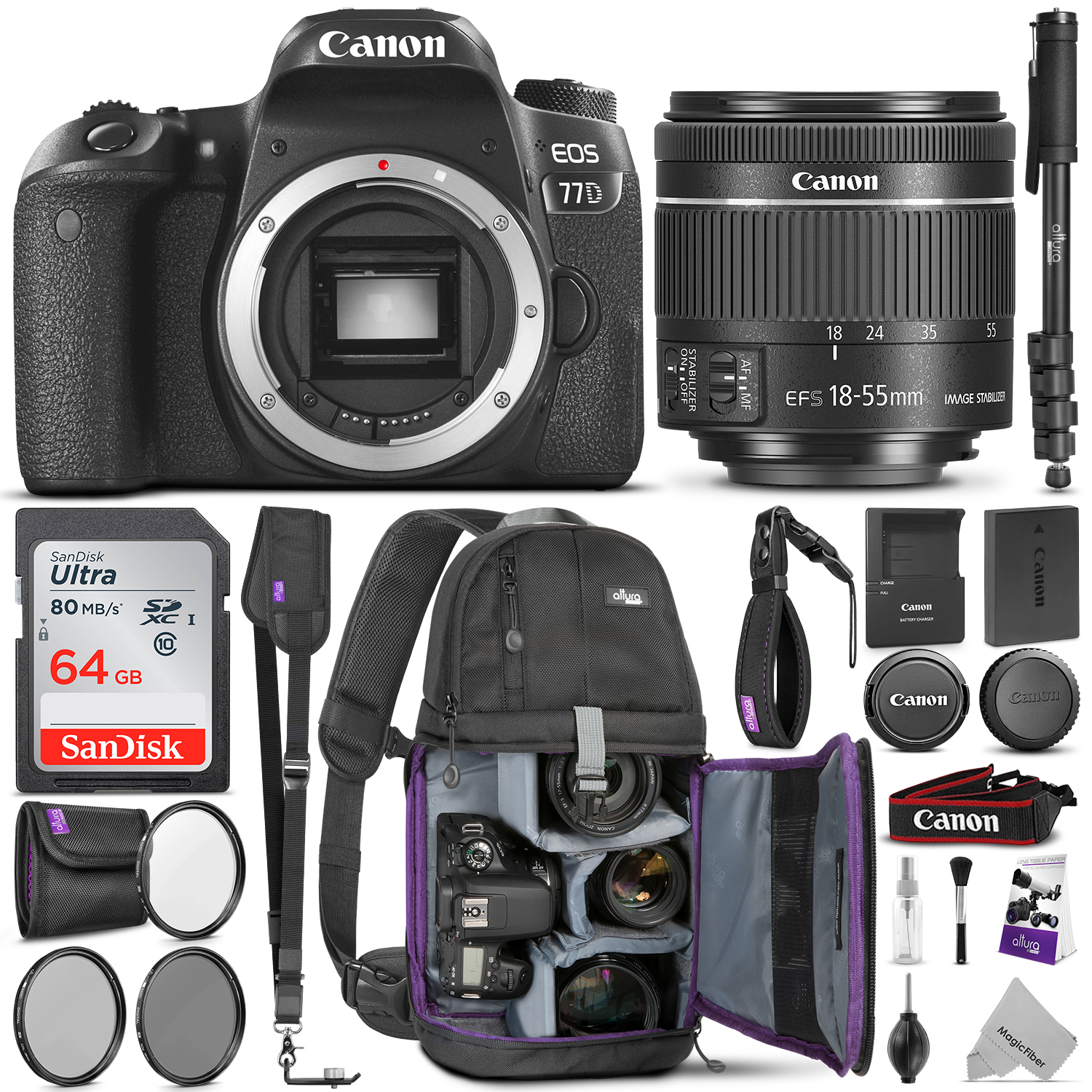 Canon EOS 77D DSLR Camera with 18-55mm is STM Lens w/Advanced Photo & Travel Bundle - Includes: Canon USA Warranty, Altura Photo Backpack, SanDisk 64gb SD Card, Monopod, Filter Kit, Neck Strap