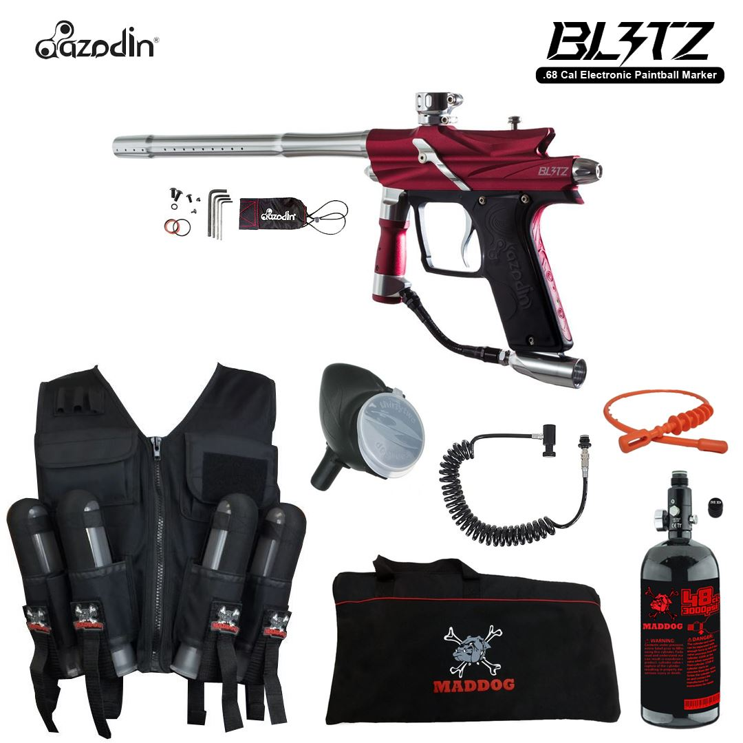 Click here to buy Azodin Blitz 3 Maddog Lieutenant HPA Sport Vest Paintball Gun Package Red.
