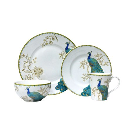 222 Fifth : Peacock Garden White 16 Piece Dinnerware Set ()