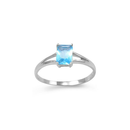 Candy Rectangles Crush Simulated Aquamarine Cubic Zirconia Petite Ring Sterling Silver 925