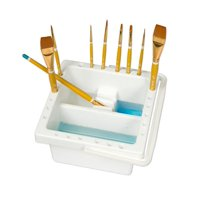 """Creative Mark Brush Basin - Watercolor Paint Brush Washing Basin Designed to Soak Brushes in Solution, Shape Brushes and Hold Brushes Equipped with Mixing Pallet - [6.5"""" x 6.5"""" x 3.5""""]"""