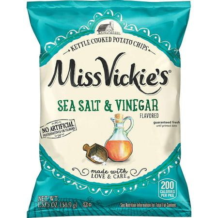 Miss Vickie's Sea Salt & Vinegar Flavored Kettle Cooked Potato Chips 1.375 oz Bags - Pack of 16 (No Cook Halloween Snacks)