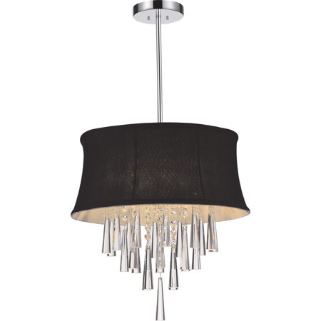 Crystal World 4 Light Chrome Drum Shade Chandelier