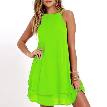 Summer Women Casual Chiffon Spaghetti Strap Vest Dress Fashion O-Neck Sleeveless Solid Plus size S-5XL