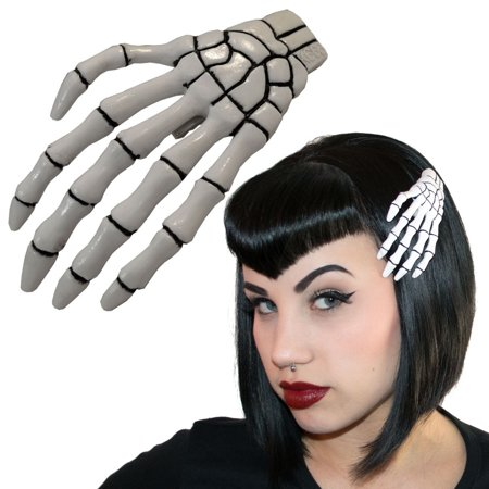 XL White Skeleton Hand Hair Clip Halloween Horror Accessory Kreepsville - Halloween Skeleton Hair