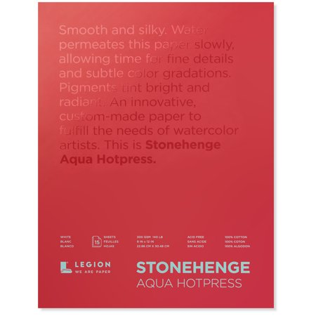 Legion Paper Stonehenge Aqua Black Watercolor Pad, Cold-Press, 9in x 12in