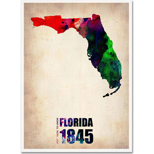 "Trademark Fine Art ""Florida Watercolor Map"" Canvas Art by Naxart"