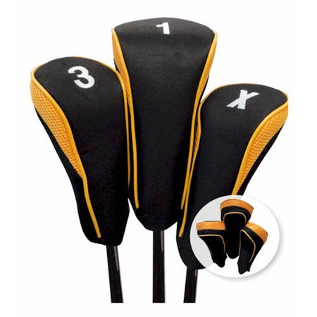 JP Lann Hi-Tech Golf Club Headcovers, 3-Pack, 1-3-X), Black-White