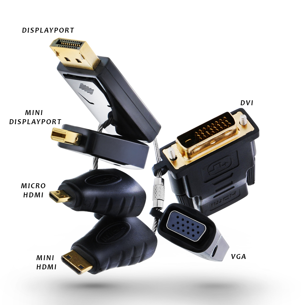 Onn Universal HDMI Adapter Ring with DisplayPort, Mini DisplayPort, Micro HDMI, Mini HDMI, DVI and VGA Connector