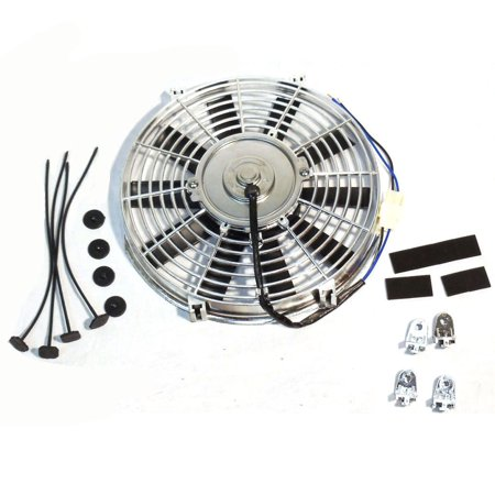 """14"""" Electric Radiator Chrome Cooling Fan Straight Blade 1900CFM"""