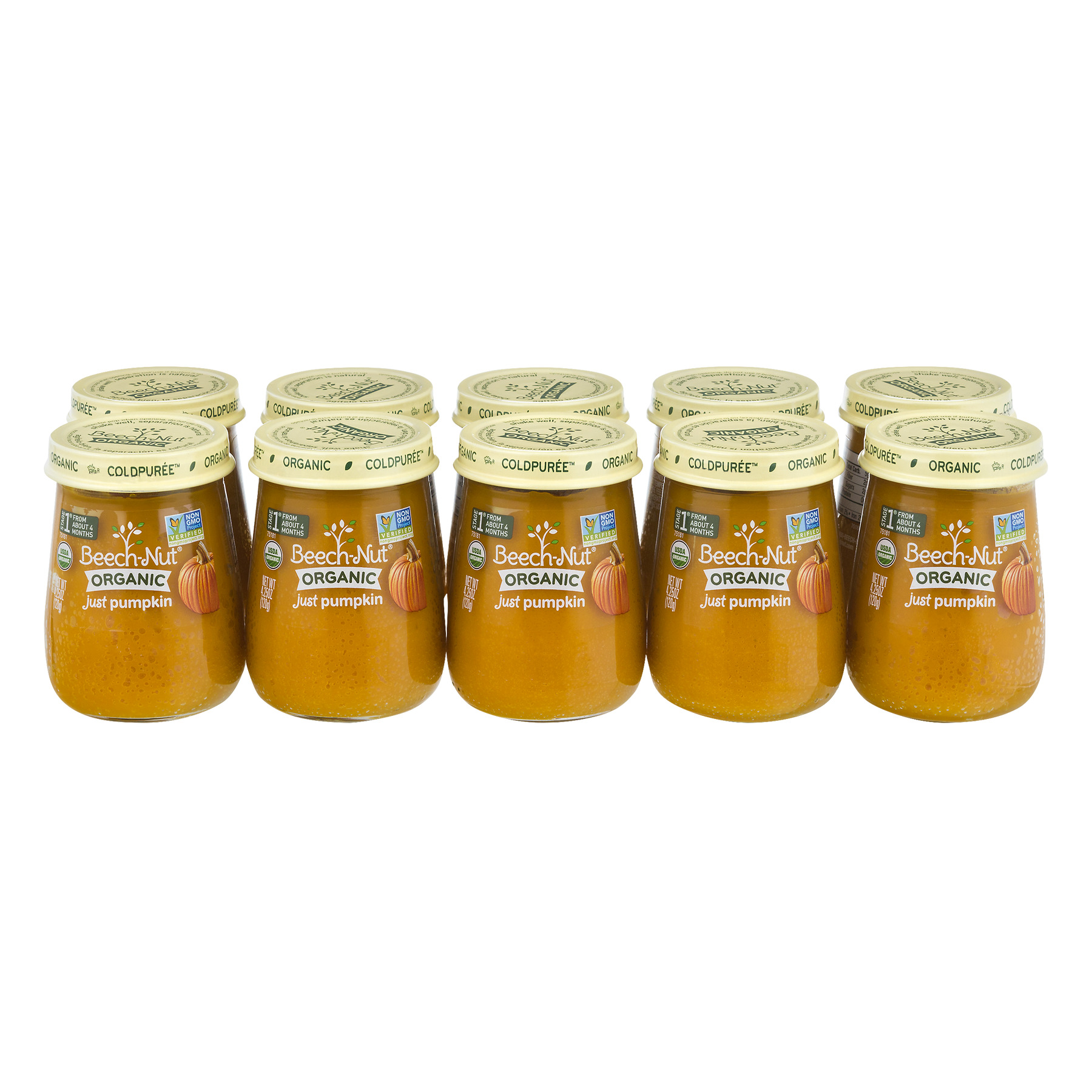 Beech-Nut Organic  Stage 1 Just Pumpkin Baby Food, 4.25 oz, (Pack of 10)