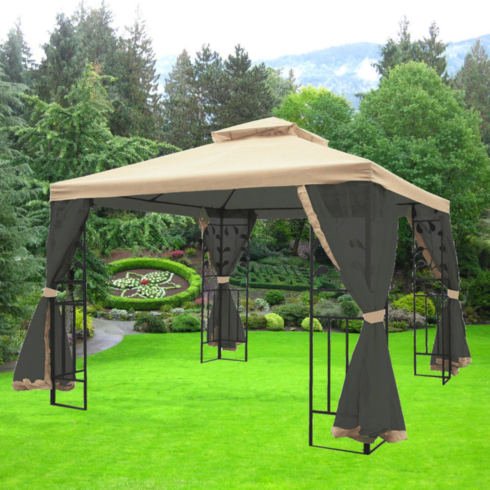 MAOS 10 Ft. W x 10 Ft. D Steel Gazebo with Mosquito Netting