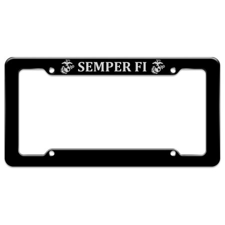 Marine Corps Retired License Plate (Marine Corps USMC Semper Fi Black White Logo Officially Licensed License Plate Tag Frame )