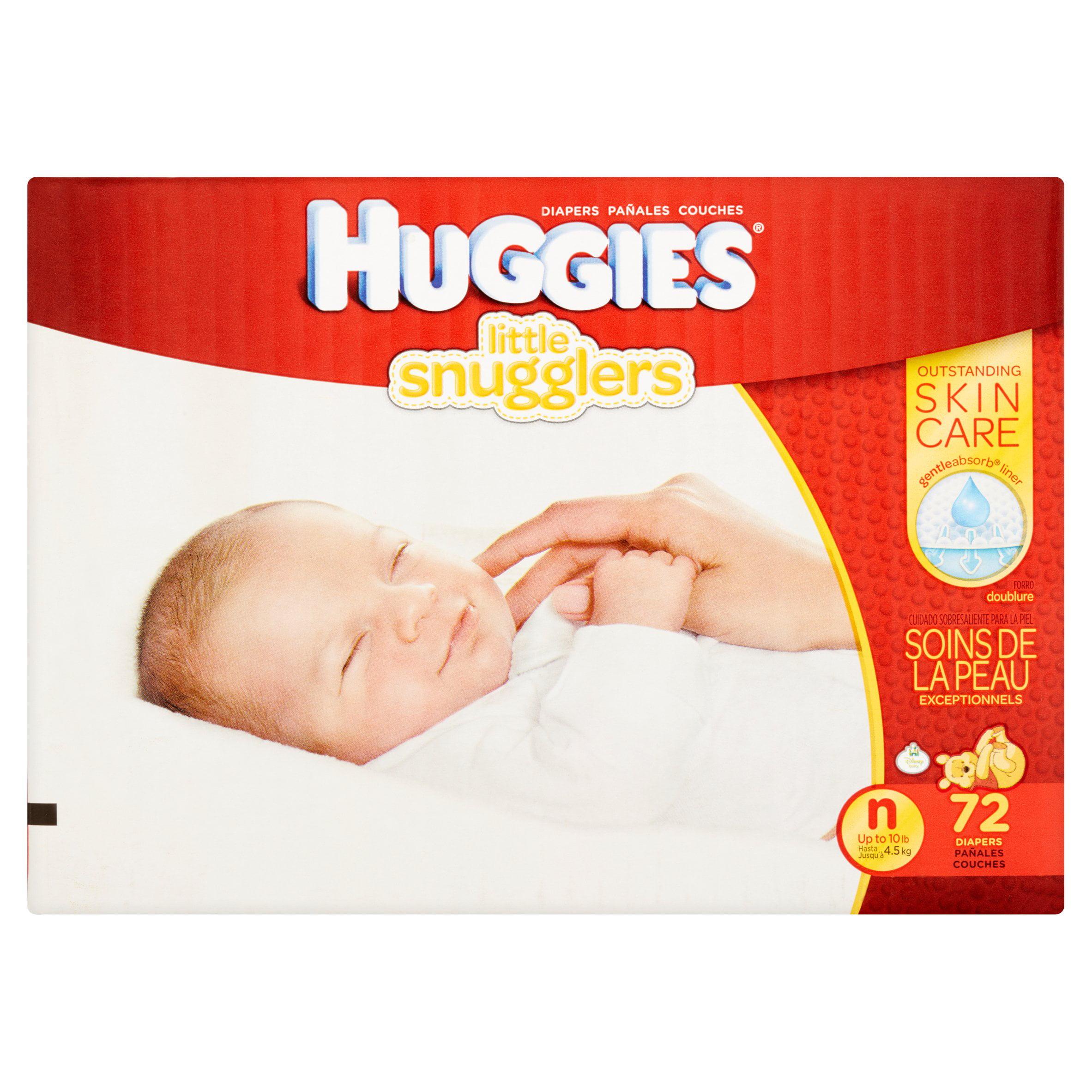 HUGGIES Little Snugglers Diapers, Newborn, 72 Diapers