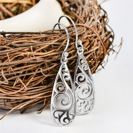 Women Simple Jewelry Bohemia Fashion Silver Hollow Carved Water Drop Earrings ()