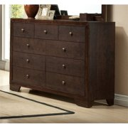 Bowery Hill Romantic Style Espresso Finish 9 Drawer Double Bedroom Dresser