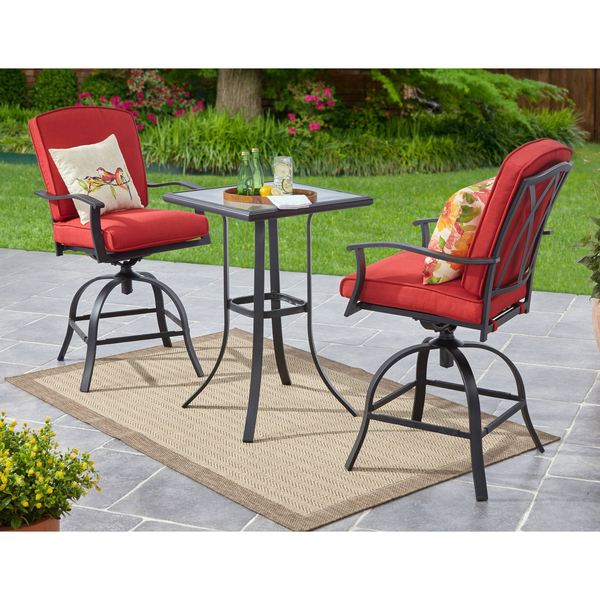 Mainstays Belden Park 3pc Swivel High Bistro Set,