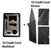 Ten 11-in-1 Credit Card Sized Survival Multi Tool Kit With Case, Ten Credit Card Folding Safety Knife - Stainless Steel Multifunction Emergency Pocket Tools for Camp, Sports, Hunting, Etc..