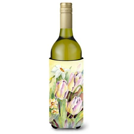 Tulips and Narcisuss Wine Bottle Beverage Insulator Hugger BMBO0425LITERK