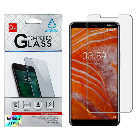 Nokia 3.1 Plus Cricket Phone Screen Protector Shockproof Tempered Glass LCD Screen Protector Crystal CLEAR 9H 2.5D HD Guard Screen Protector Cover for Nokia 3.1 Plus ()